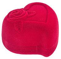 Бархатная коробочка сердце с розой красный