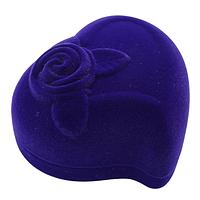 Бархатная коробочка сердце с розой синий