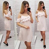 Літній коротке плаття з воланом, арт 102, принт рожева смужка
