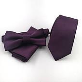 Подарунковий фіолетовий набір: краватка, хустку, метелик