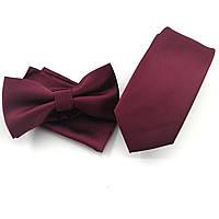 Подарочный бордовый набор: галстук, платок, бабочка