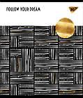 """Зошит для записів А5/48 лін. YES """"Black abstract"""" софт-тач+фольга золото, 5 шт/уп., фото 5"""