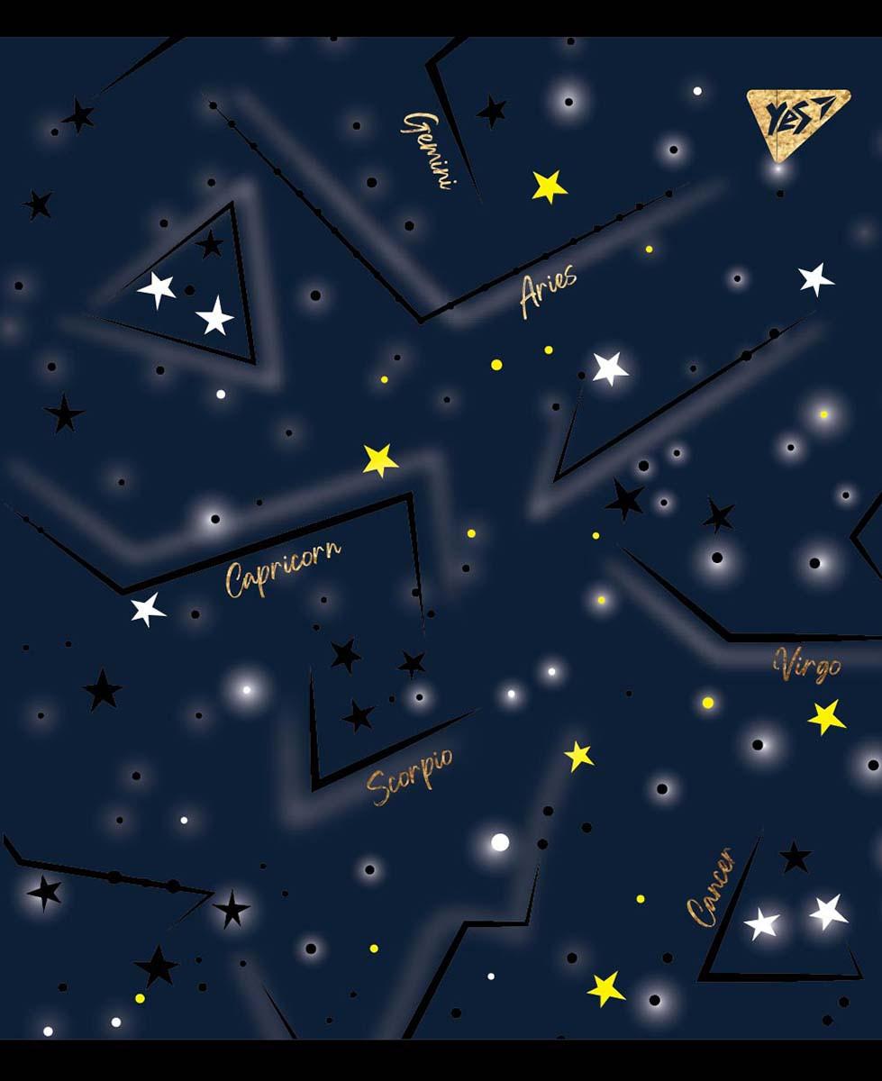 """Зошит для записів А5/48 лін. YES """"Cosmic system"""" фольга золото+софт-тач+УФ-виб., 5 шт/уп."""