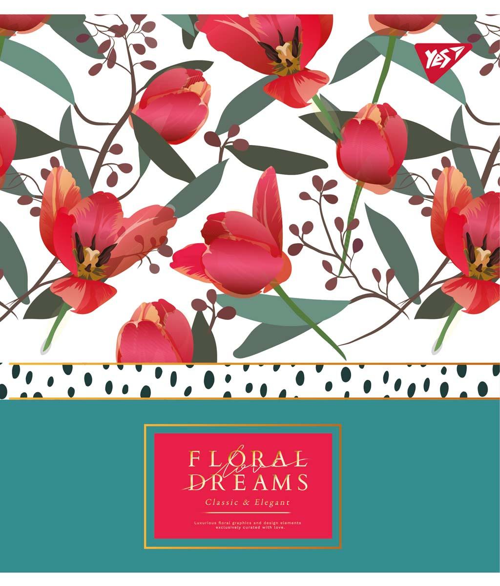 """Зошит для записів А5/48 лін. YES """"Floral dreams"""" фольга золото+софт-тач+УФ-виб., 5 шт/уп."""