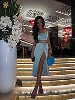 Костюм женский красивый из сатина топ со шнуровкой с переплетом на спине и юбка миди с разрезом Km1263