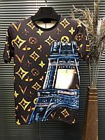 Футболка Louis Vuitton Brown ( золотой принт, башня)