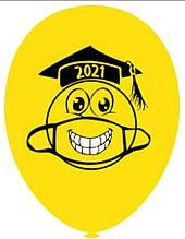 """Латексна кулька з малюнком Посмішка з маскою 2021 Bel Bal 105 12"""" асорті"""