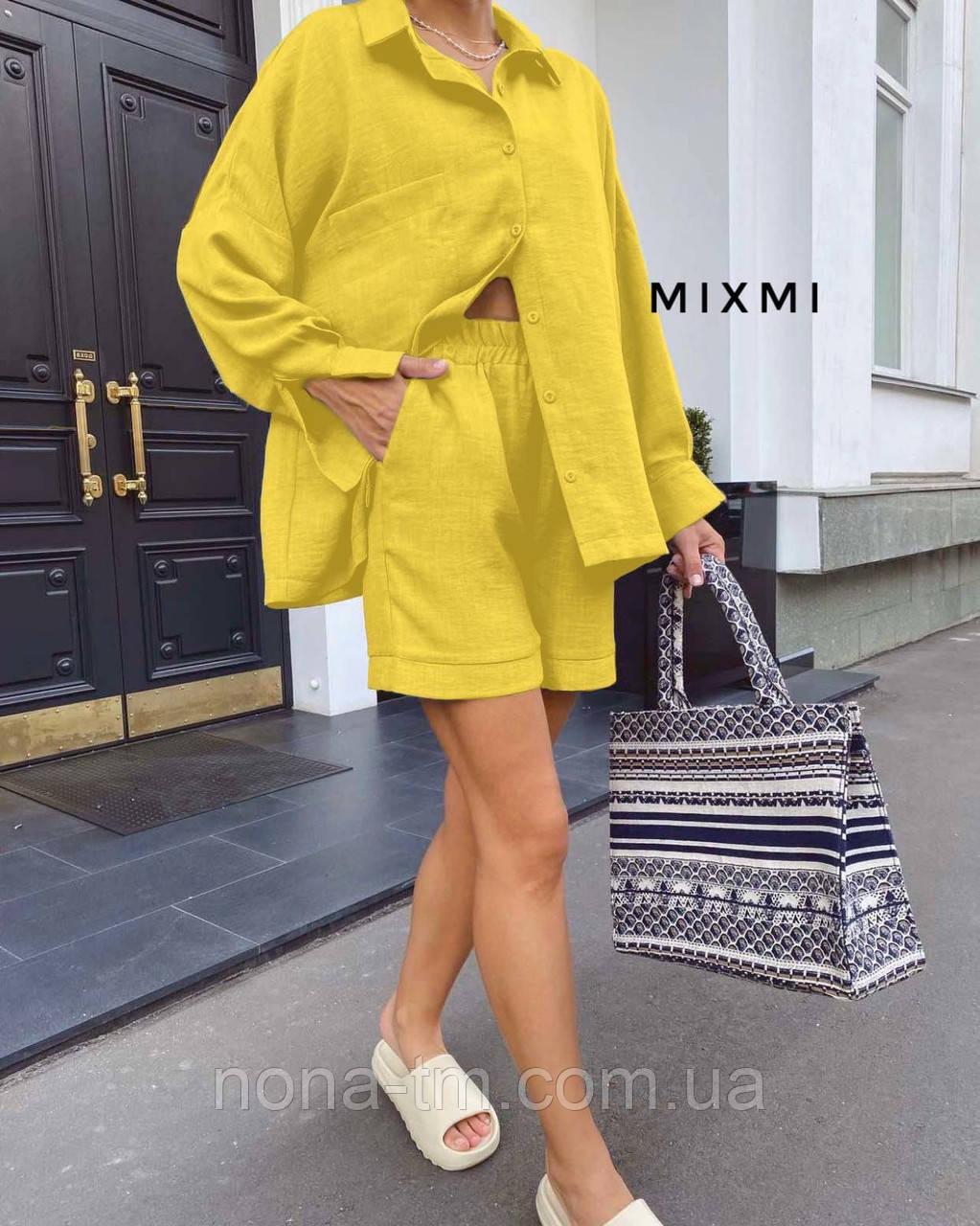Стильний костюм жіночий прогулянковий з льону