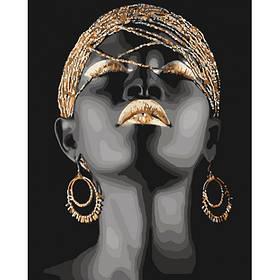 """Набір для розпису по номерах. Люди """"Африканська принцеса з металевими фарбами"""" 40*50см"""