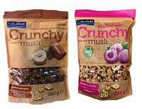 Кранчі (хрусткі мюслі) Crunchy Crownfield з горіхами і шоколадом та малиною 350 г
