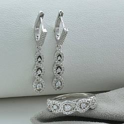 Серебряный набор кольцо + серьги 38х6 мм вставка белые фианиты  размер 18.5