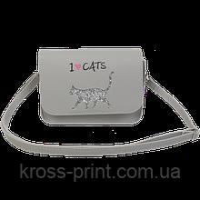 Сумка на плечо маленькая CAT LOVER, 19x15x6,5 см, серая (декор: глиттерный кот)