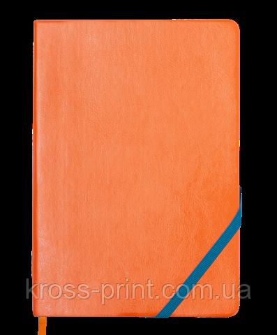 Блокнот деловой LOLLIPOP, L2U, А5, 96 л., линия, оранж., иск. кожа