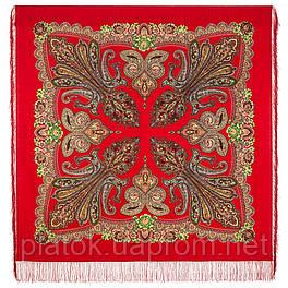 Царевна лягушка 1447-5, павлопосадский платок шерстяной  с шелковой бахромой