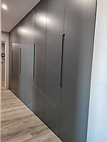 Шафа вбудована розпашна в коридор в сучасному стилі з фарбованими фасадами мдф