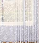 Тюль жаккардовая готовая пошитая на тесьме 270х500 Белый код 65006