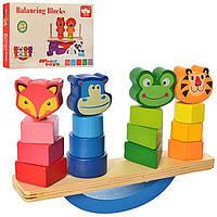 Логическая игра баланс,деревянный балансир MD2347,деревянная пирамидка,сортер, фото 1