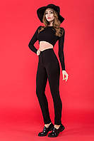 Женские облегающие черные брюки с высокой талией