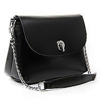 Чорна жіноча сумка через плече крос-боді шкіра А. Rai класична сумочка з натуральної шкіри, фото 1