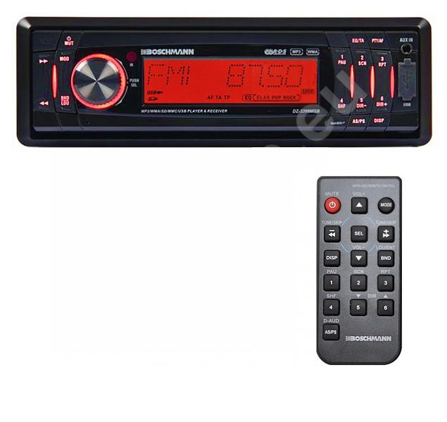 Автомагнитола 4-х канальная Boschmann DZ-3399MSB (съемная панель, DC 12 вольт, FM-радио, AUX)