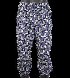 Жіночі капрі з кишенями Ластівка 4053 XL-6XL сині з білим