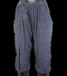Жіночі капрі з кишенями Алія 7081 L-6XL сині з білим