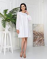 Нова колекція!!! Ошатне плаття трапеція з мереживом, артикул 144/1, колір білий.