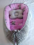 Кокон ( позиционер , гнездышко)   для новорожденных Желто - серый + подушечка ортопедическая плюш бязь, фото 6