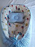Кокон ( позиционер , гнездышко)   для новорожденных Желто - серый + подушечка ортопедическая плюш бязь, фото 7