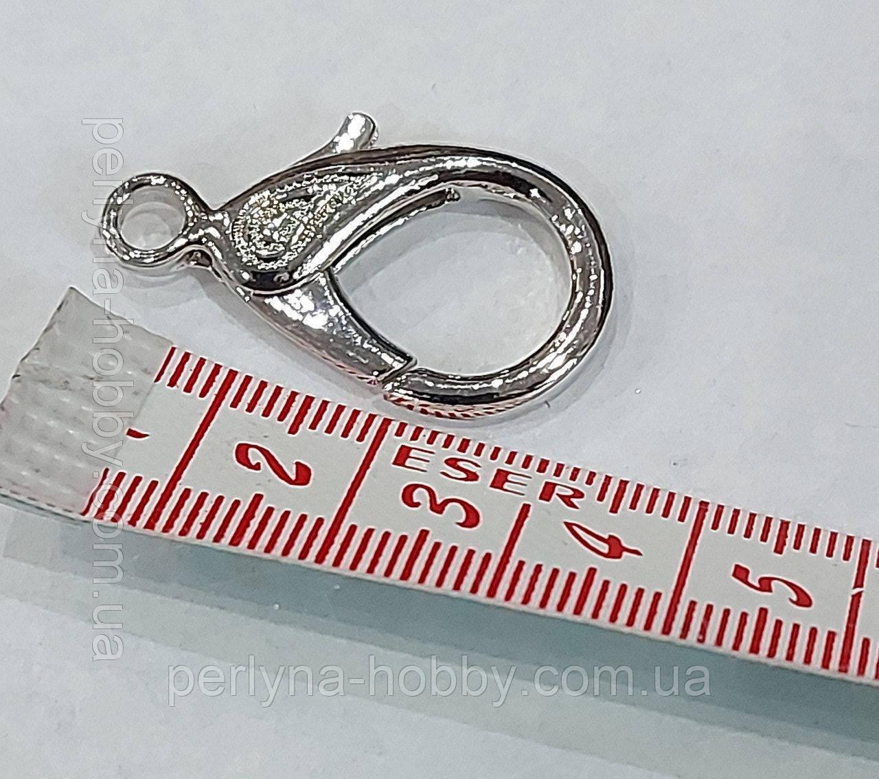 """Застібка карабін """"Сердечко"""", 32 мм. нікель-платина"""