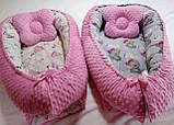 Кокон ( позиционер , гнездышко)   для новорожденных Желто - серый + подушечка ортопедическая плюш бязь, фото 8