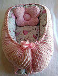 Кокон ( позиционер , гнездышко)   для новорожденных Желто - серый + подушечка ортопедическая плюш бязь, фото 9