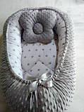Кокон ( позиционер , гнездышко)   для новорожденных Желто - серый + подушечка ортопедическая плюш бязь, фото 10
