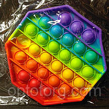 Поп-Ит  Pop-It антистресс-игрушка радужный восьмигранник  Ø 12,5 см