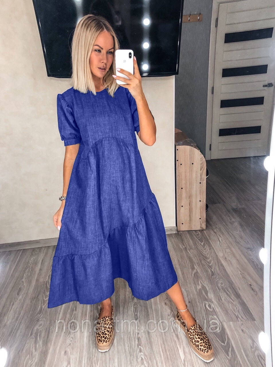 Жіноча сукня льняна літня з коротким рукавом