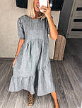 Жіноча сукня льняна літня з коротким рукавом, фото 4
