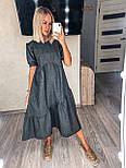 Жіноча сукня льняна літня з коротким рукавом, фото 5