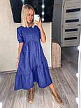 Стильне плаття літнє жіноче лляне з коротким рукавом, фото 3