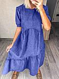 Стильне плаття літнє жіноче лляне з коротким рукавом, фото 4