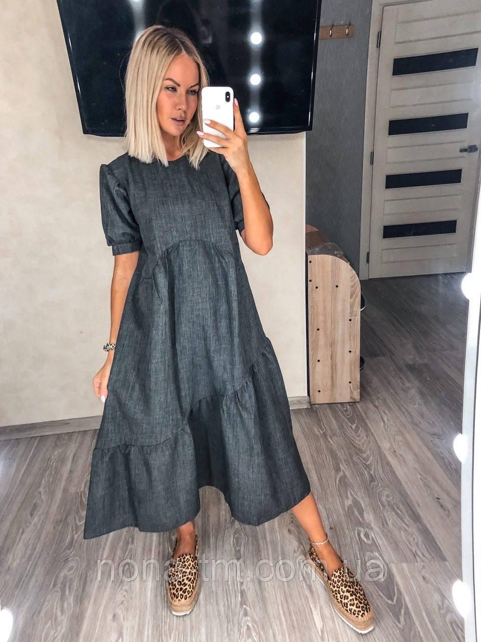 Стильне плаття літнє жіноче лляне з коротким рукавом