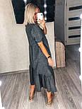 Стильне плаття літнє жіноче лляне з коротким рукавом, фото 6