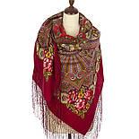 Василиса 1370-5, павлопосадский платок (шаль) из уплотненной шерсти с шелковой вязаной бахромой, фото 2