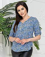 Блуза на блискавці в квітку, арт. 158/1, колір блакитний
