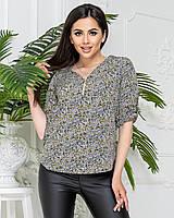Блуза на блискавці в квітку, арт. 158/1, колір зелений
