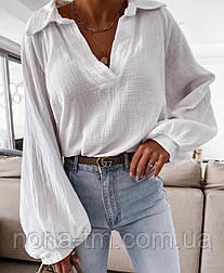 Жіноча сорочка бавовняна з довгим рукавом