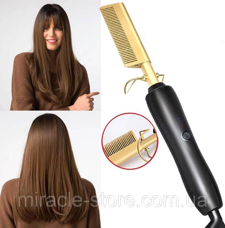 Електрична гребінна гребінець випрямляч Hair Straighter Press Comb з регулюванням температури