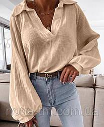 Бавовняна сорочка жіноча з довгим рукавом