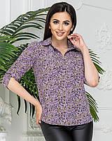 Блуза сорочка в квітку, арт 828/1, колір бузковий