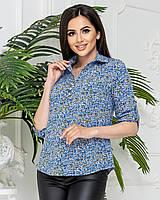 Блуза сорочка в квітку, арт 828/1, колір блакитний