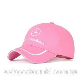 Кепка Mercedes-Benz розовая, бейсболка с лотипом  авто Мереседес бенц